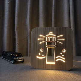 Natural Wooden Creative Lighthouse Pattern Design Light for Kids
