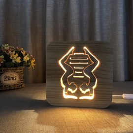 Natural Wooden Creative Yoga Pattern Design Light for Kids