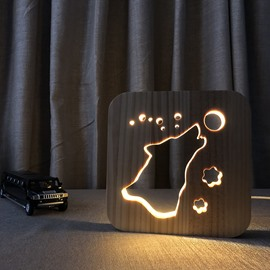 Natural Wooden Creative Wolf Pattern Design Light for Kids
