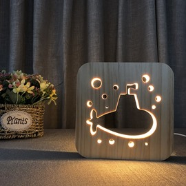 Natural Wooden Creative Submarine Pattern Design Light for Kids