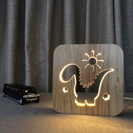 Natural Wooden Creative Vivid Dinosaur Pattern Design Light for Kids