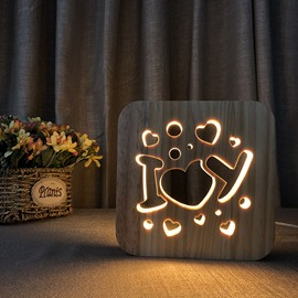 Natural Wooden Creative Love Pattern Design Light for Kids