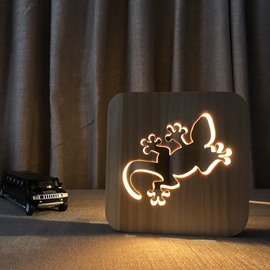 Natural Wooden Creative Gecko Pattern Design Light for Kids