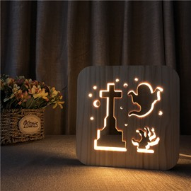 Natural Wooden Creative Ghost Pattern Design Light for Kids