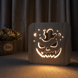Natural Wooden Creative Halloween Pumpkin Pattern Design Light for Kids