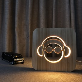 Natural Wooden Creative Headset Pattern Design Light for Kids
