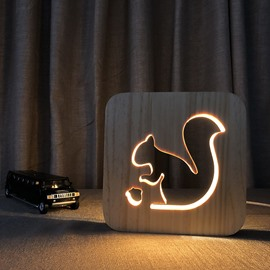 Natural Wooden Creative Squirrel Pattern Design Light for Kids