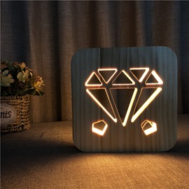 Creative Natural Wooden Diamond Pattern Light for Kids
