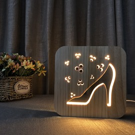 Creative Natural Wooden High Heels Pattern Light for Kids