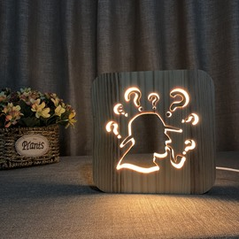 Natural Wooden Creative Pattern Design Light for Kids