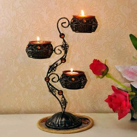 Classical Wrought Iron Candle Holders with Three Heads