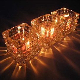 New Arrival Crystal Glass Checkered Candle Holder