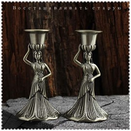 Exquisite Alloy Godness-shape Relief Sculpture a Couple of Candle Holder