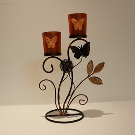 Flower Butterfly Leaves Vintage Wrought Iron Candle Holder