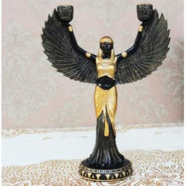 New Arrival Antique Eygpt Godess Rasing Arms Design Candle Holder