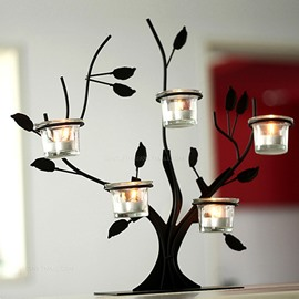 Wonderful Tree Design Iron 5-Head Candle Holder