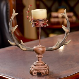Amazing Deer Antler Design Resin 1-Head Candle Holder