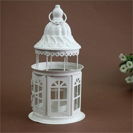 Retro European Morocco Style Iron Glass Lantern Candle Holder