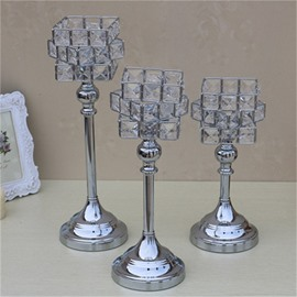 European Style Modern and Fashion Silvery Crystal Hotel Decorations Candle Holder