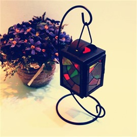 Classic Style Iron Colorful Glass Cylinder Type Candles Holder