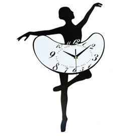 Creative Ballet Dancing Girl Acrylic Mute Wall Clock