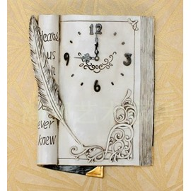 White American Style Creative Antique Book Design Decorative Wall Clock