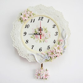 New Arrival European Style Classic Lily White Color Embossed Decorative Wall Clock