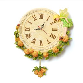 New Arrival European Style Cute Yellow Flower Fairy Design Wall Clock