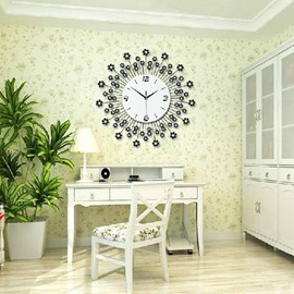 Fantastic Floral Dandelion Diamonds Decorative Wall Clock