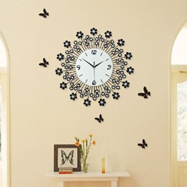 Fantastic Floral Dandelion Diamonds Decorative Wall Clock