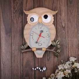 Amazing Creative Swinging Resin Owl Wall Clock