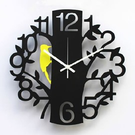 Amazing Creative Woodpecker Branch Pattern Decorative Wall Clock
