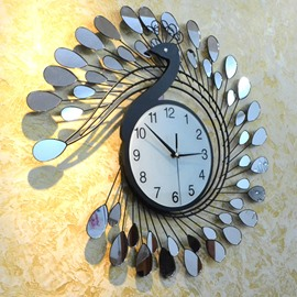 Alluring Creative Peacock Shape Home Decorative Wall Clock