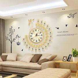 Amazing Simple Stylish Peacock Shape Quiet Movement Wall Clock