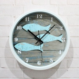 European Style Retro Old Deck and Little Fish Wall Clock