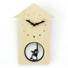 Fancy Swinging Little Monkey Design Wooden Wall Clock