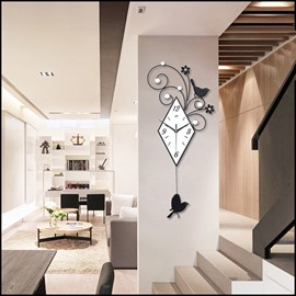 Creative Iron Swing Birdie Mute Wall Clock Home Decoration