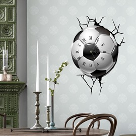 Creative Football Through the Wall 3D Wall Sticker Wall Clock
