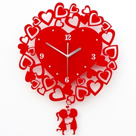 Modern Loving Heart-Shaped Mute 16-inch Wall Clock
