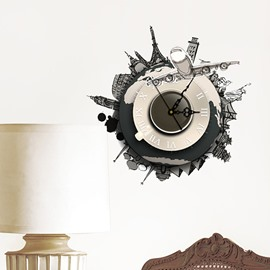 World Famous Tourist Attraction and Architecture 3D Sticker Wall Clock