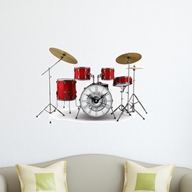 Wonderful Music Band Drum Set Design 3D Sticker Wall Clock