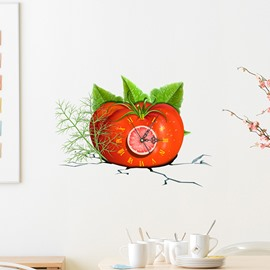 Fresh Tomato Design 3D Sticker Wall Clock