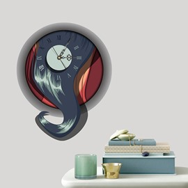 Arty Abstract Style 3D Sticker Wall Clock