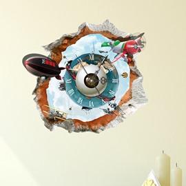 Creative Broken Wall Submarine 3D Sticker Wall Clock