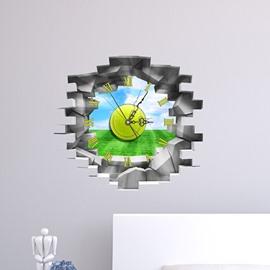 Wall Hole View Green Field 3D Sticker Wall Clock