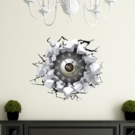 Broken Wall Eyeball 3D Sticker Wall Clock
