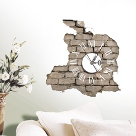 Creative Peeled off Brick Wall 3D Sticker Wall Clock