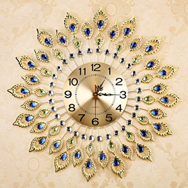 Fabulous and Elegant Decorative Peacock Feather Design Metal Artwork Mute Wall Clock