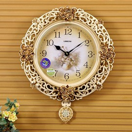 Vinatge Euopean Style Hollowed-Cut Fringe Living Room Mute Wall Clock