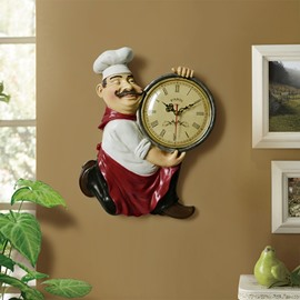 Vintage Resin Chef Hanging Wall Clock